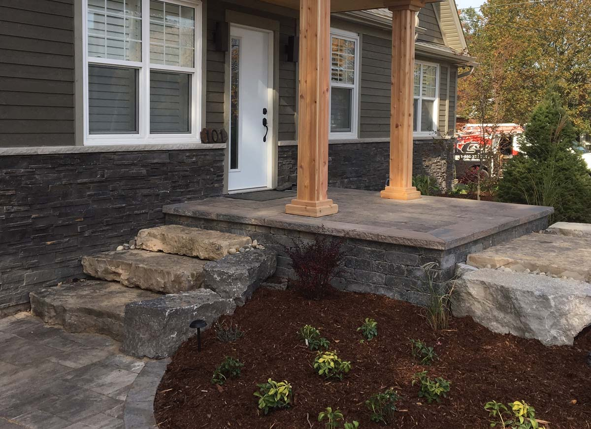 Beacon hill oak brown fusion natural stone steps.