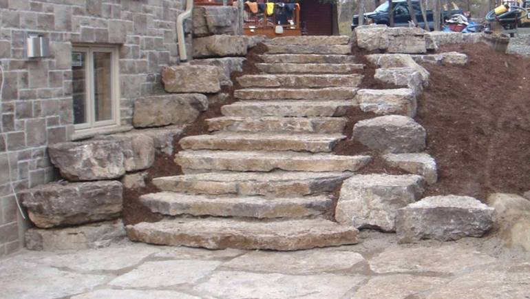 Natural Stone Steps and Retaining Wall