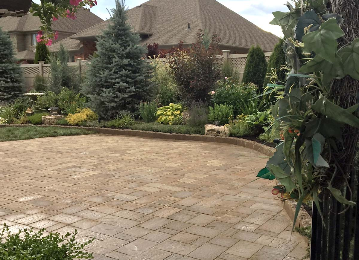 Backyard patio and flagstone path